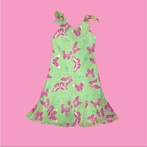 Pink and Green Butterfly Dress